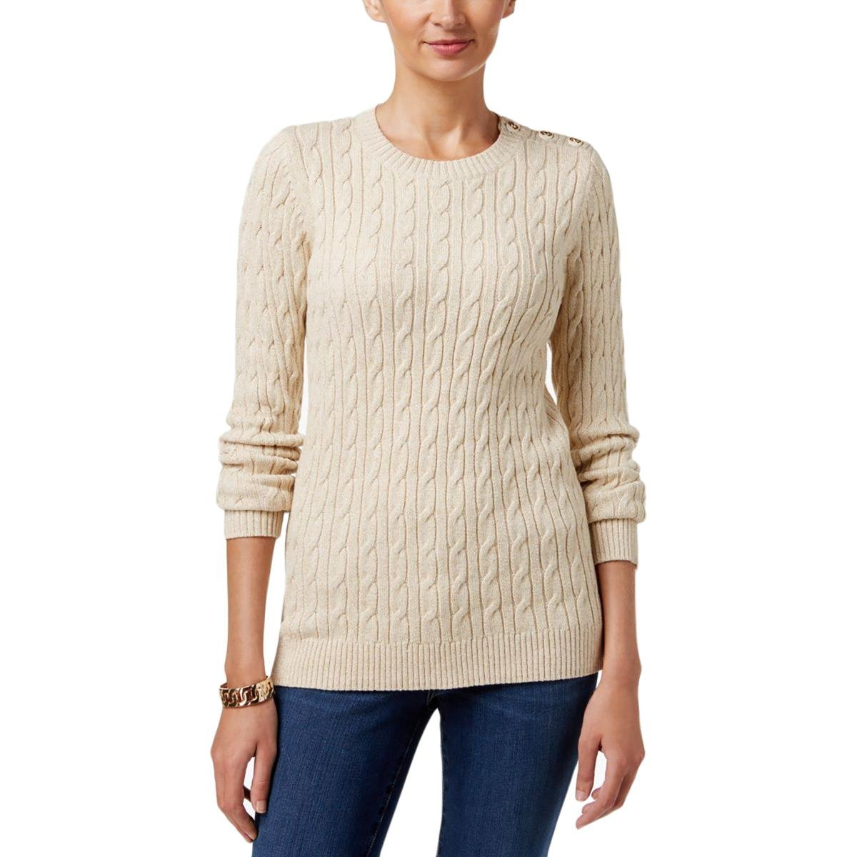 Charter Club Womens Cable Knit Metallic Crewneck Sweater Beige XXL