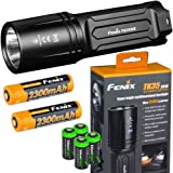 FENIX TK35 Ultimate 2018 Edition UE 3200 Lumen LED Tactical Flashlight with 2 X Fenix 18650 Li-ion rechargeable batteries, 4 X EdisonBright CR123A Lithium batteries bundle