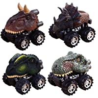 Pull Back Dinosaur Cars,Aolvo 4 Pack Big Tire Wheel Vehicles Playset Dinosaur Model Mini Toys Truck Pull Back Cars for Kids Toddlers