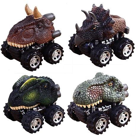 Pawaca Juego de 4 juguetes de dinosaurio para coches y niños con rueda de neumático grande
