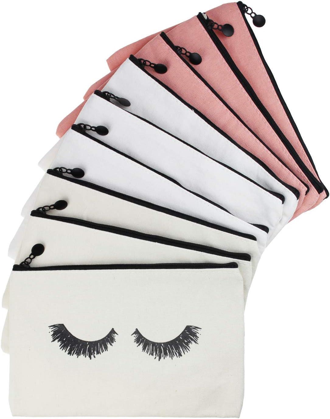 9 pi/èces maquillage des cils maquillage pochettes de voyage cosm/étiques trousses de toilette avec fermeture /éclair pour femmes et filles 3 couleurs