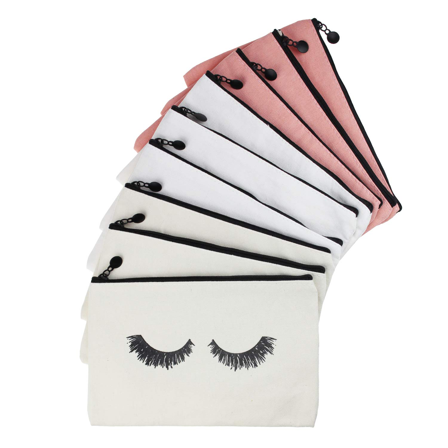 LJY 9 Pieces Eyelash Pattern Makeup Cosmetic Travel Pouches Toiletry Bag Cases with Zipper for Women and Girls, 3 Colors