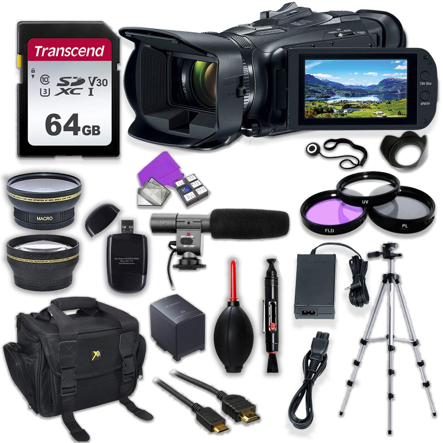 Canon Vixia HF G50 UHD 4K Camcorder with Premium Accessory Kit Including Padded Bag, Microphone, Filters & 64GB High Speed U3 Memory by Canon