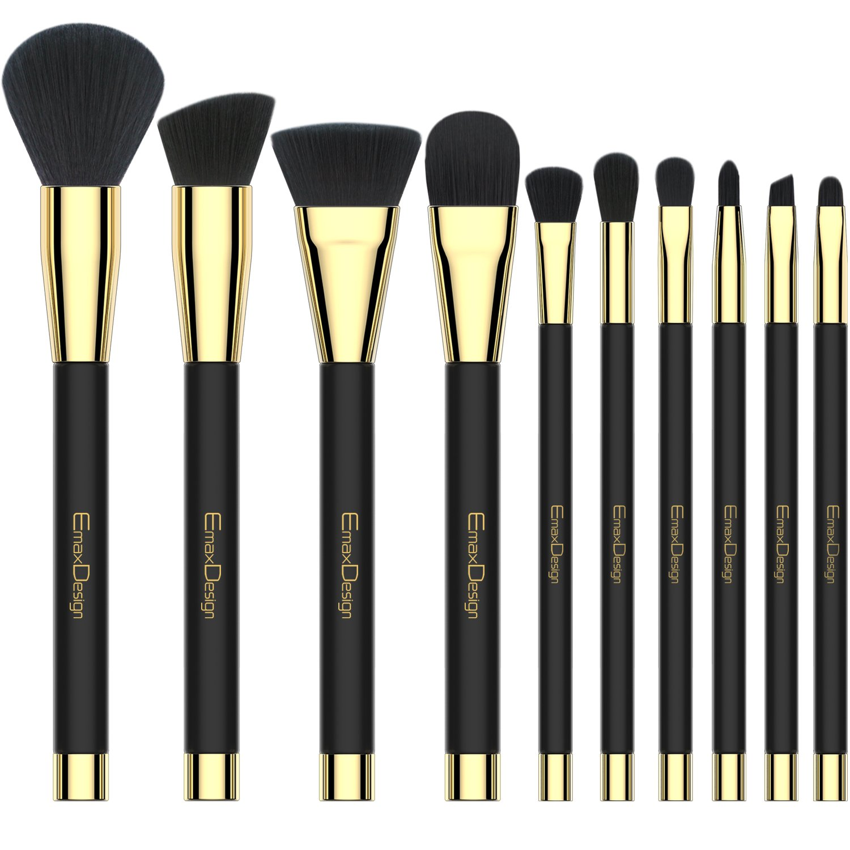Makeup Brushes EmaxDesign 10 Pieces Makeup Brush Set Professional Foundation Blending Contour Eyeshadow Brow Blush Lip Eye Face Liquid Powder Cream Cosmetics Brushes tool Kit