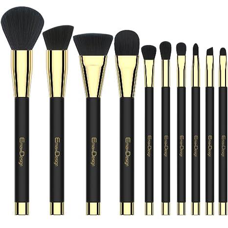 556cdab06 EmaxDesign 10 piezas Juego de brochas de maquillaje cara Fundación Blush de  ojos sombra de ojos
