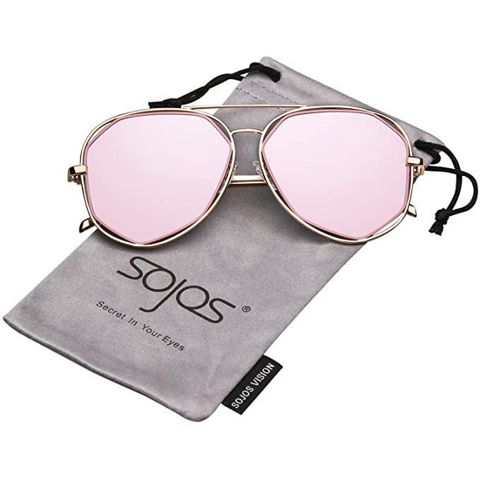 c7a43cb2ef SojoS Gafas De Sol Mujer Marco Metal Lentes Planos De Espejo SJ1004 Marco  Oro/Lentes