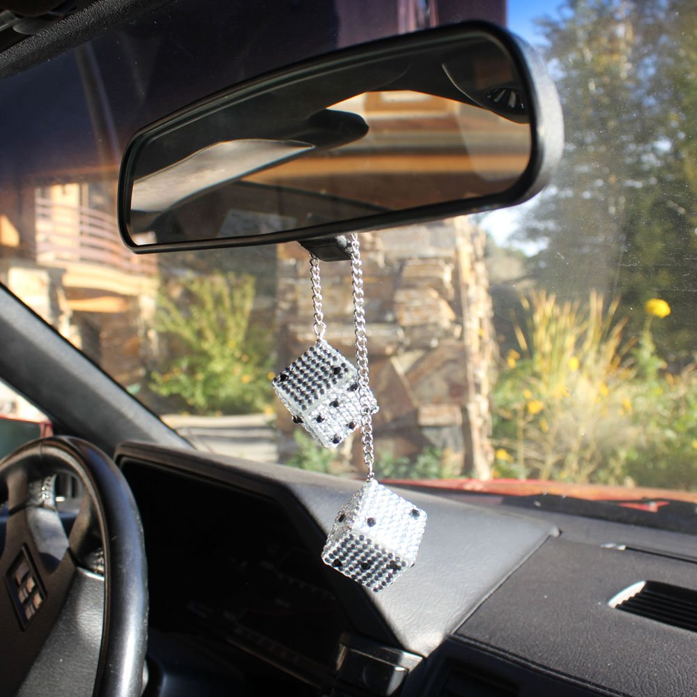 Crystal Ball-encrusted Car Pendant Hanging Rearview Mirror Fashion Decorating 9L