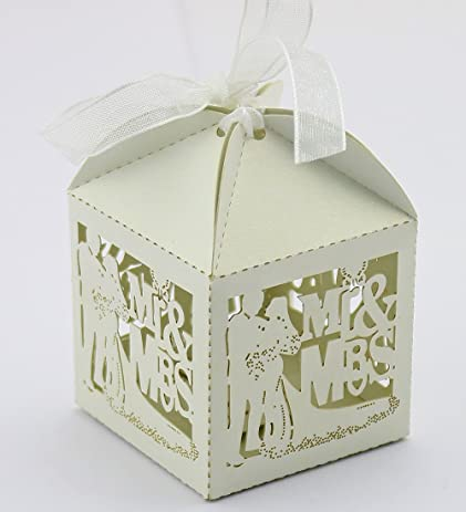 60pcs wedding favor box love bird candy bag chocolate gift box bridal baby shower cubic