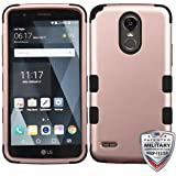 Cell Accessories For Less (TM) LG Stylo 3 LS777 LGL84VL - Rose Gold/Black TUFF Hybrid Phone Case Cover [Military-Grade Certified] Bundle (Stylus & Micro Cleaning Cloth) - By TheTargetBuys