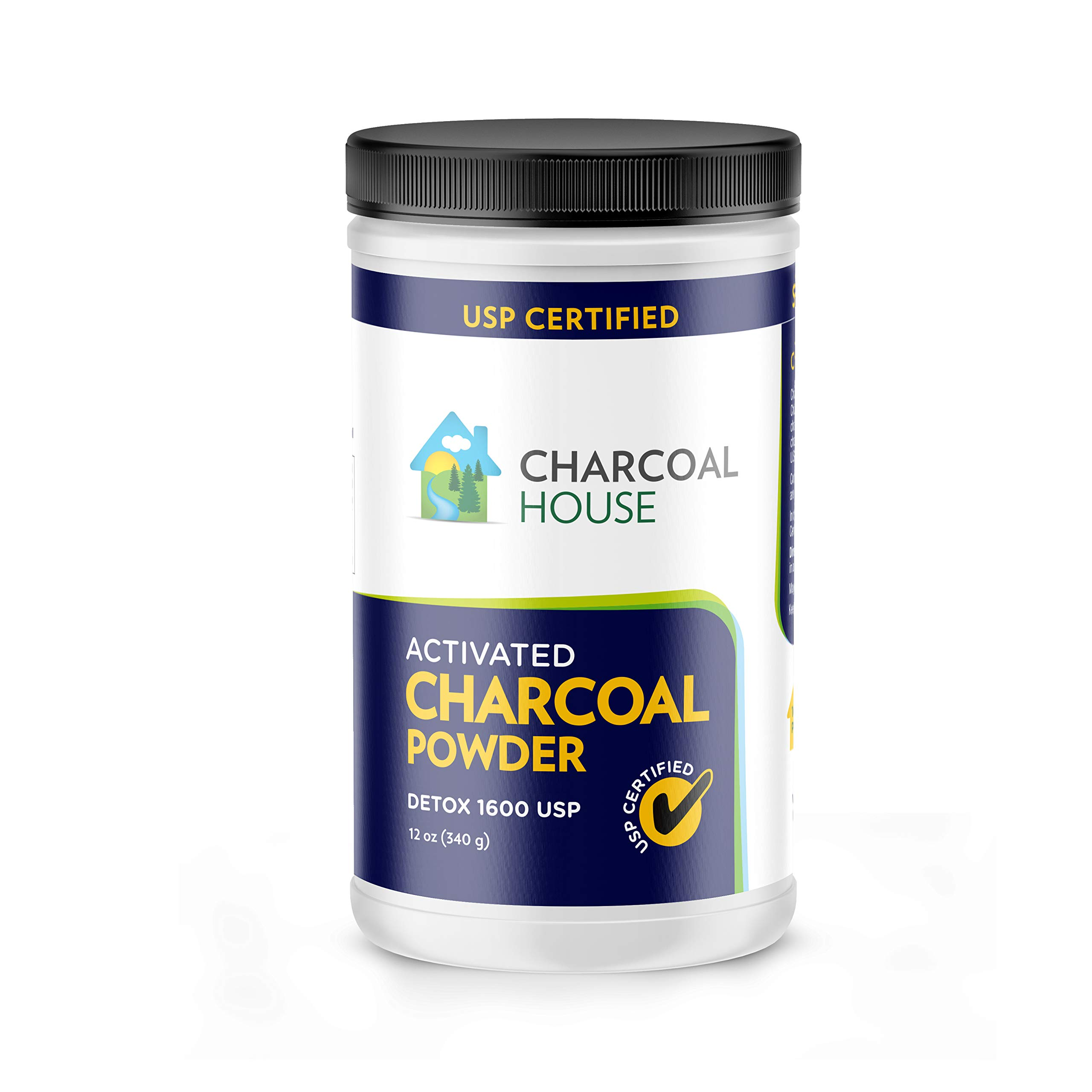 DETOX 1600 USP - Super Fine Coconut Activated Charcoal Powder - 12 oz by Charcoal House (Image #1)