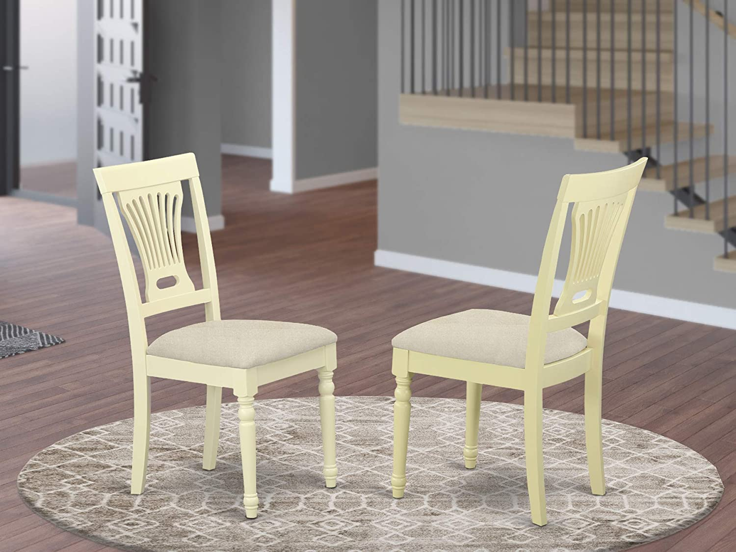East West Furniture PVC WHI C Plainville dining chair set of 2 Microfiber Upholstery Seat and Buttermilk Hardwood Structure modern dining room chairs