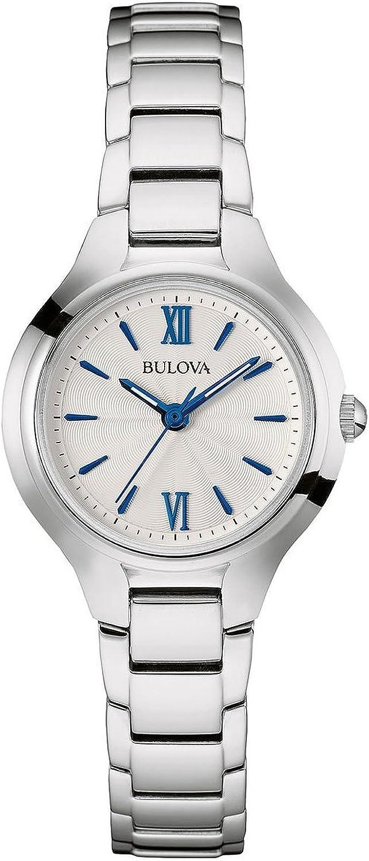 Bulova Reloj Funda para Mujer Pulsera de Acero Inoxidable Esfera de Color Blanco Azul Classic Disfraz de muñeca Reloj 96L215