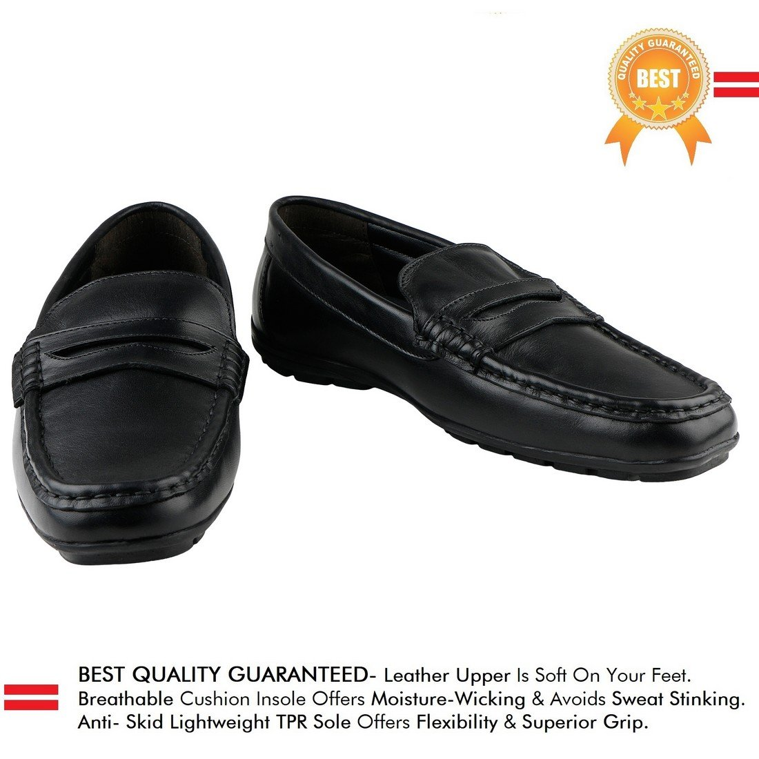 7654fbdc68c Kanprom Genuine Leather Black Loafer Shoes for Men - 6 UK  Buy Online at  Low Prices in India - Amazon.in