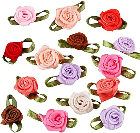100 rose flower ribbon satin appliques trim lot pink