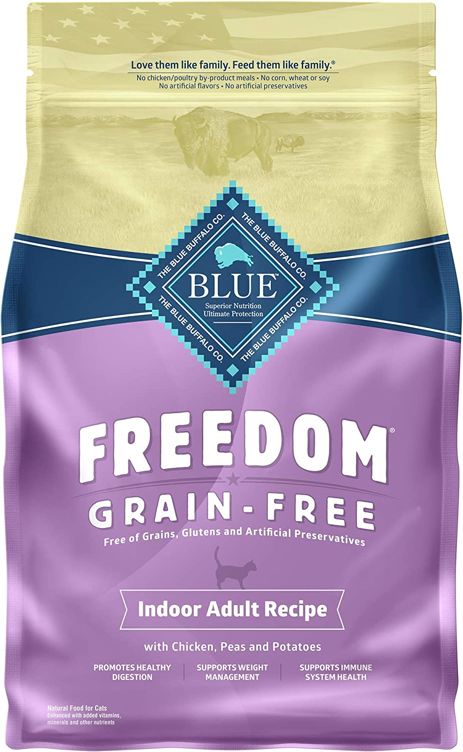 Blue Buffalo Freedom Grain Free Natural Indoor Adult Dry Cat Food Chicken 5-lb.