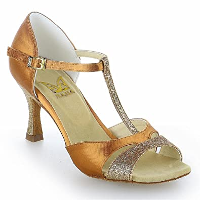 Jia Jia 2054 Latin Women's Sandals 2.7'' Flared Heel Super Satin with Sparkling  Glitter