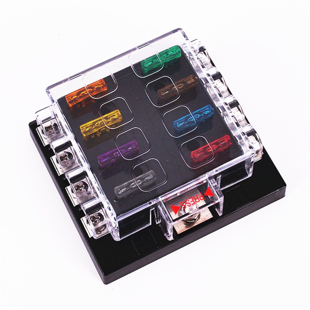 7129DZ3tcRL._SL1000_ amazon com iztoss 8 way circuit car fuse blocks box 32v dc blade Outdoor AC Fuse Box On at mifinder.co