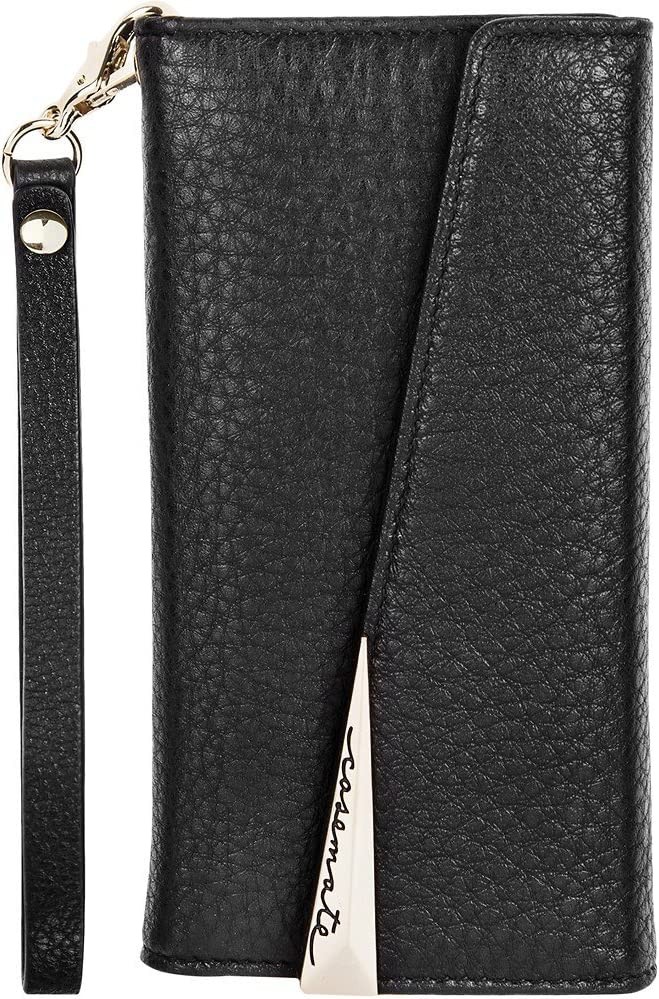 Case-Mate Genuine Leather Wristlet Folio Case for Apple iPhone 7/iPhone 6/iPhone 6S with Credit Card Slots - Black