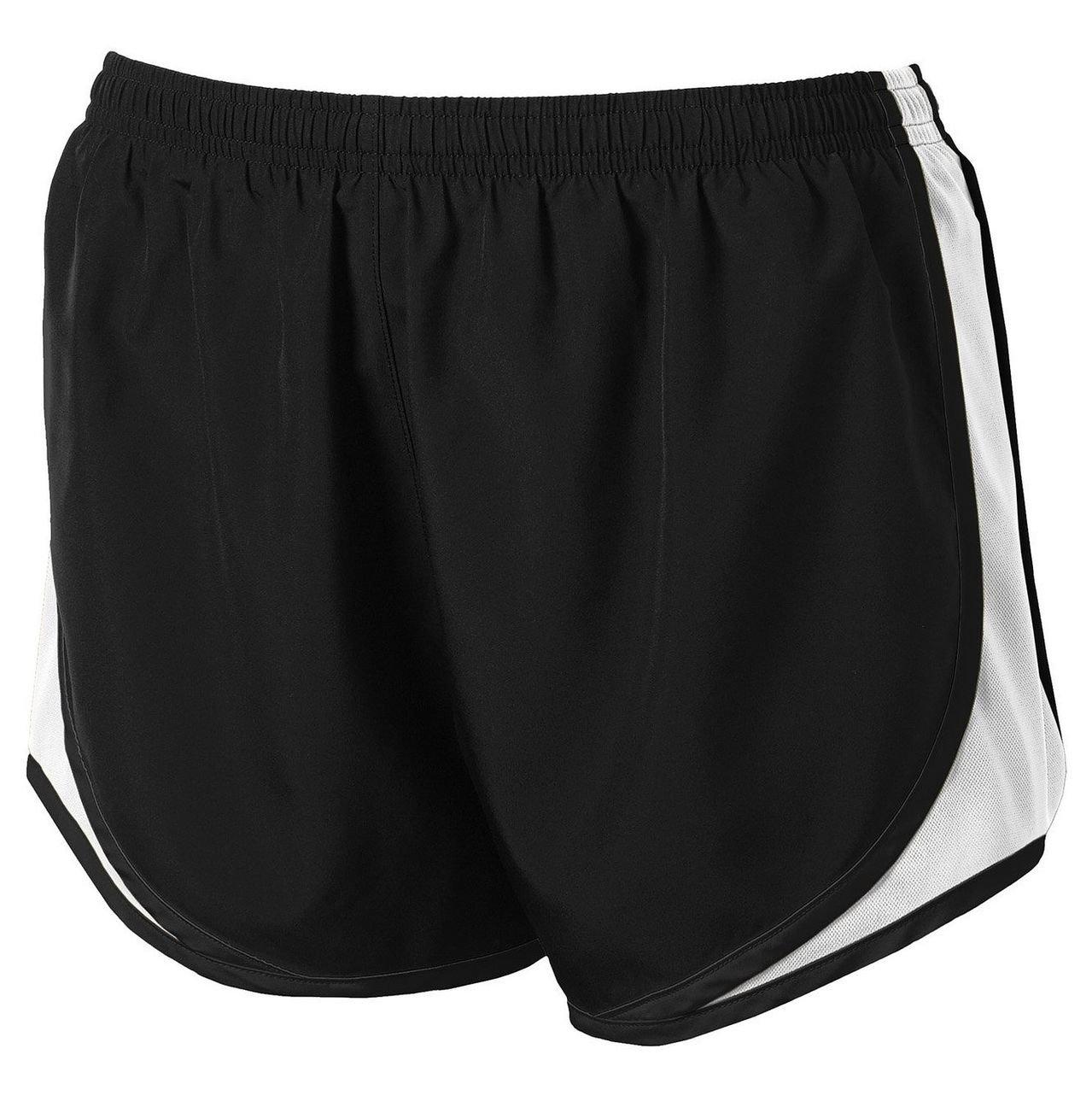 Clothe Co. Ladies Moisture Wicking Sport Running Shorts, Black/White/Black, XS