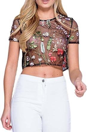 Las Mujeres De Verano De Manga Corta Cuello Redondo Scoop Sheer Transparente Simple Crop Top Camiseta Blusa Bordada: Amazon.es: Ropa y accesorios