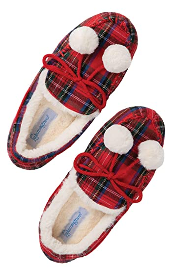 dc67bf989c499 PajamaGram Moccasin Slippers for Women - Flannel Women Slippers