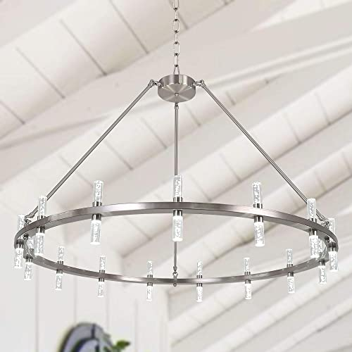 MEEROSEE Farmhouse Chandelier Modern Rustic LED Chandeliers Large D43.3 Acrylic Shade Satin Nickel 30 Lights Island Round Dining Room Pendant Lighting Fixture for Kitchen Living Room Foyer Dimmable