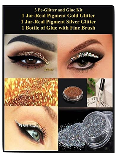 LUCIR Real EYE Glitter Gold Silver MakeUp Glue Kit Lasting Loose Make Up  Adhesive Sparkling Make up for