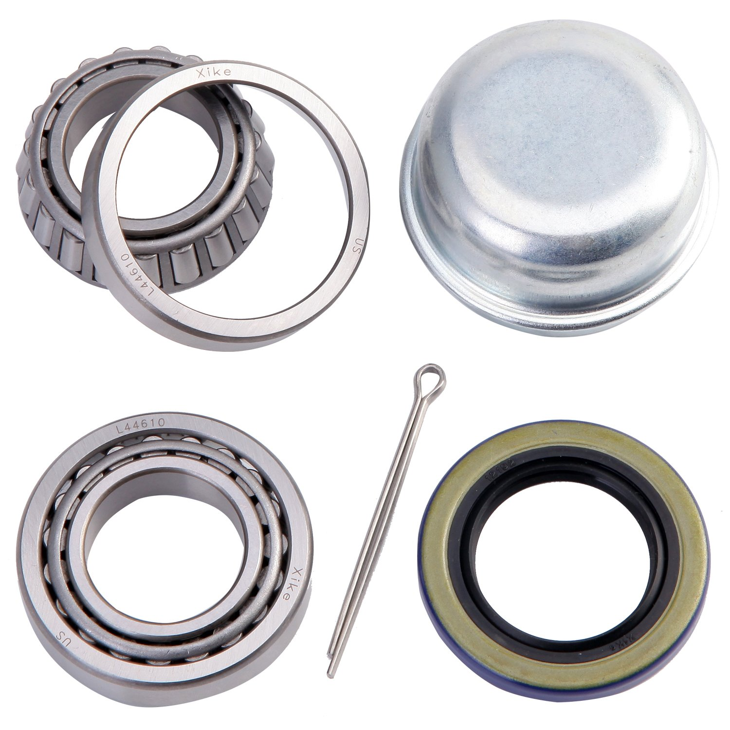 XiKe 1 Set Trailer Axle Hub Bearings Wheel Kit for Spindle 1.000'' or 1 Inch, Rotary Quiet High Speed and Durable. L44643/L44610, 12192TB Seal OD 1.980'', Dust Cover and Cotter Pin.