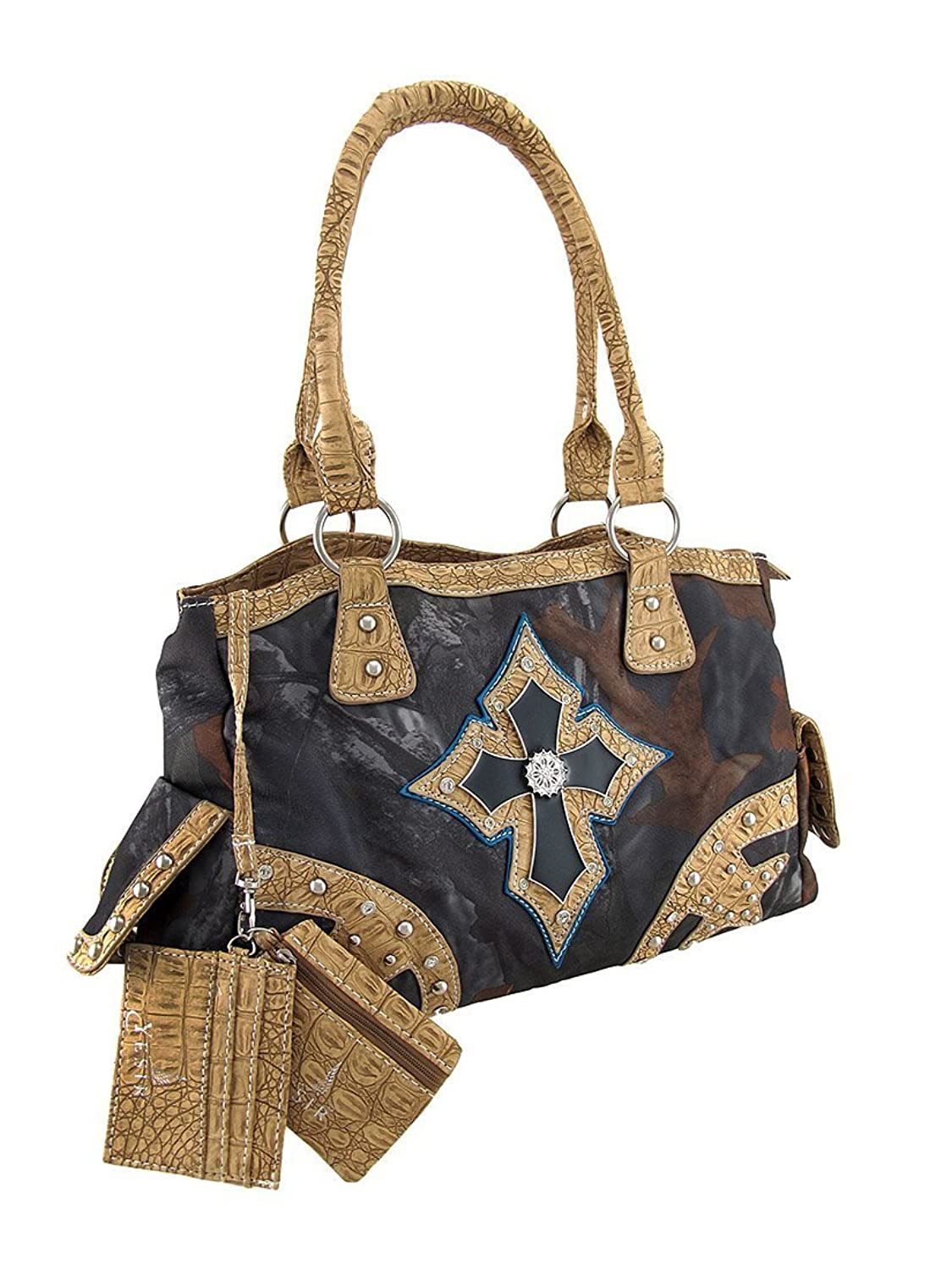 Studded Forest Camouflage Cross Concealed Carry Handbag