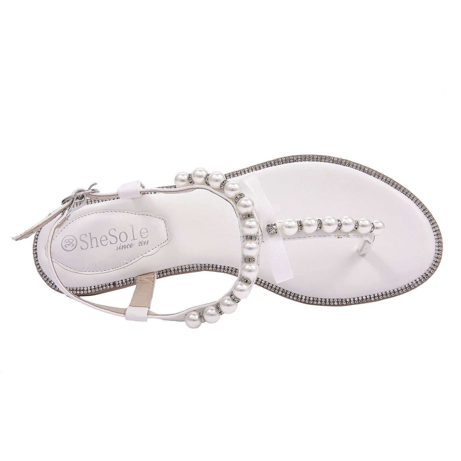b2fdb1752 SheSole Ladies Toe Post Party Flat White Sandals Flip Flops Pearl Wedding  Shoes  Amazon.co.uk  Shoes   Bags