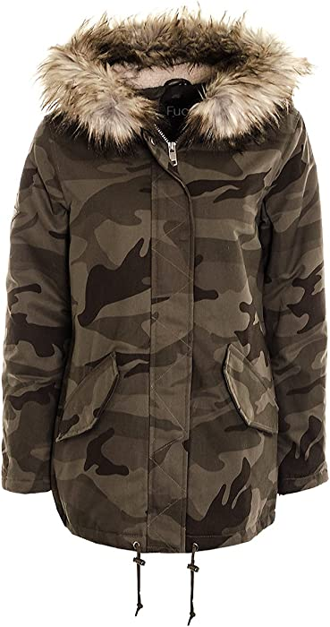 fbf89e9d378 Women s Ladies Camouflage Military Canvas Padded Army Parka Coat Jacket.  Back. Double-tap to zoom