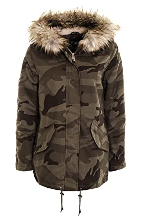 e4dcec11e65b6 Women's Camouflage parka jacket Ladies Military Canvas Padded Army Parka  Coat Jacket (10, khaki