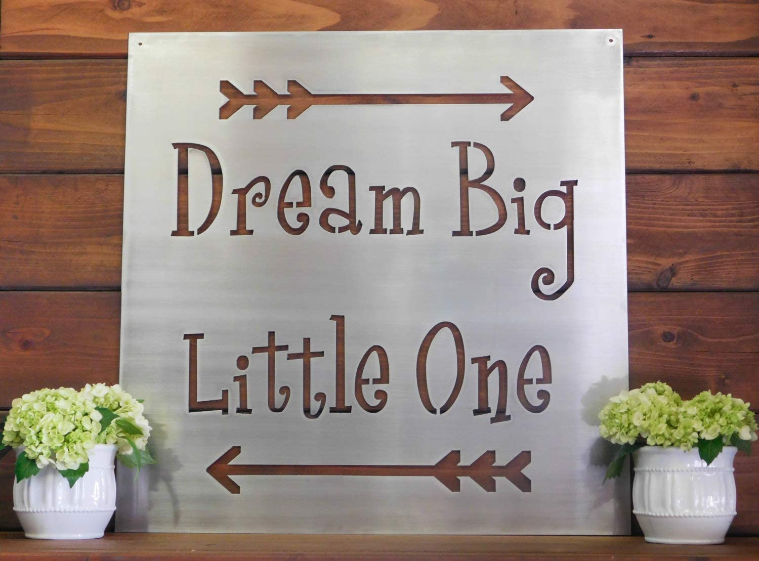 Tamengi Dream Big Wall Sign, Inspirational Wall Decor, Children's Wall Art, Metal Arrow Sign