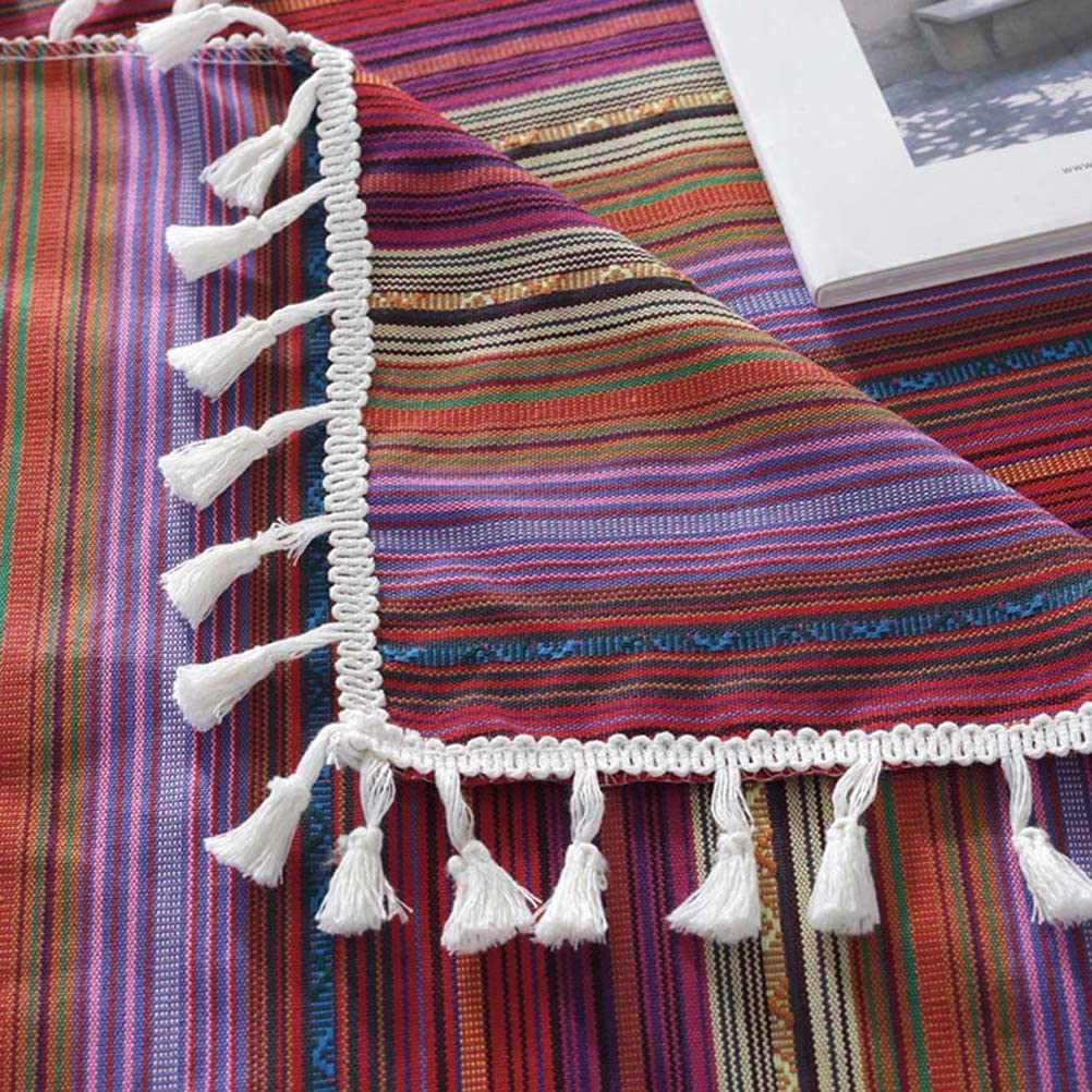Gray Green 24 x 24 Jizzr Bohemian Ethnic Striped Fabric Tassel Tablecloth Dust-Proof Washable Table Top Cover Square Dinner Picnic Table Cloth for Kitchen Dinning Tabletop Decoration