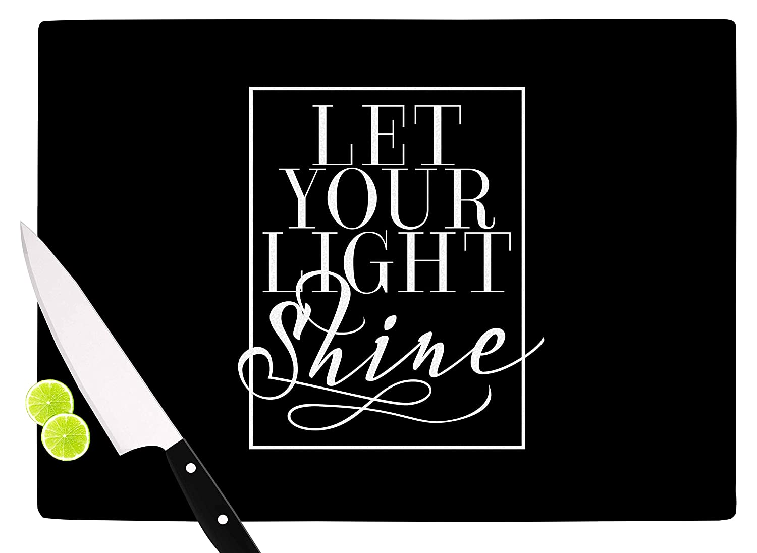 KESS InHouse Noonday DesignLet Your Light Shine Black White Cutting Board 11.5 x 15.75 Multicolor