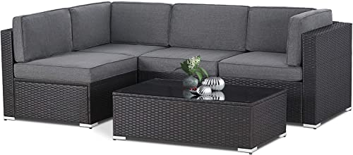 Oakmont Outdoor Patio 5 Piece Sectional Sofa Set All Weather Wicker