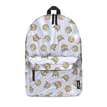 039ff0330094 Fringoo® EMOJI MONKEY HOLO Girls Boys Kids Backpack School Bag Rucksack  Daypack Travel Hand Luggage Emoji Hologram Bag (EMOJI MONKEY HOLO)   Amazon.co.uk  ...