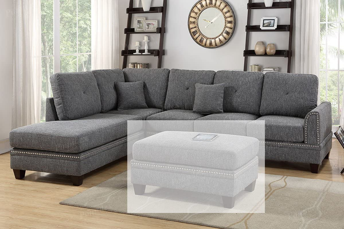 Poundex PDEX- Sectional Set, Ash Black
