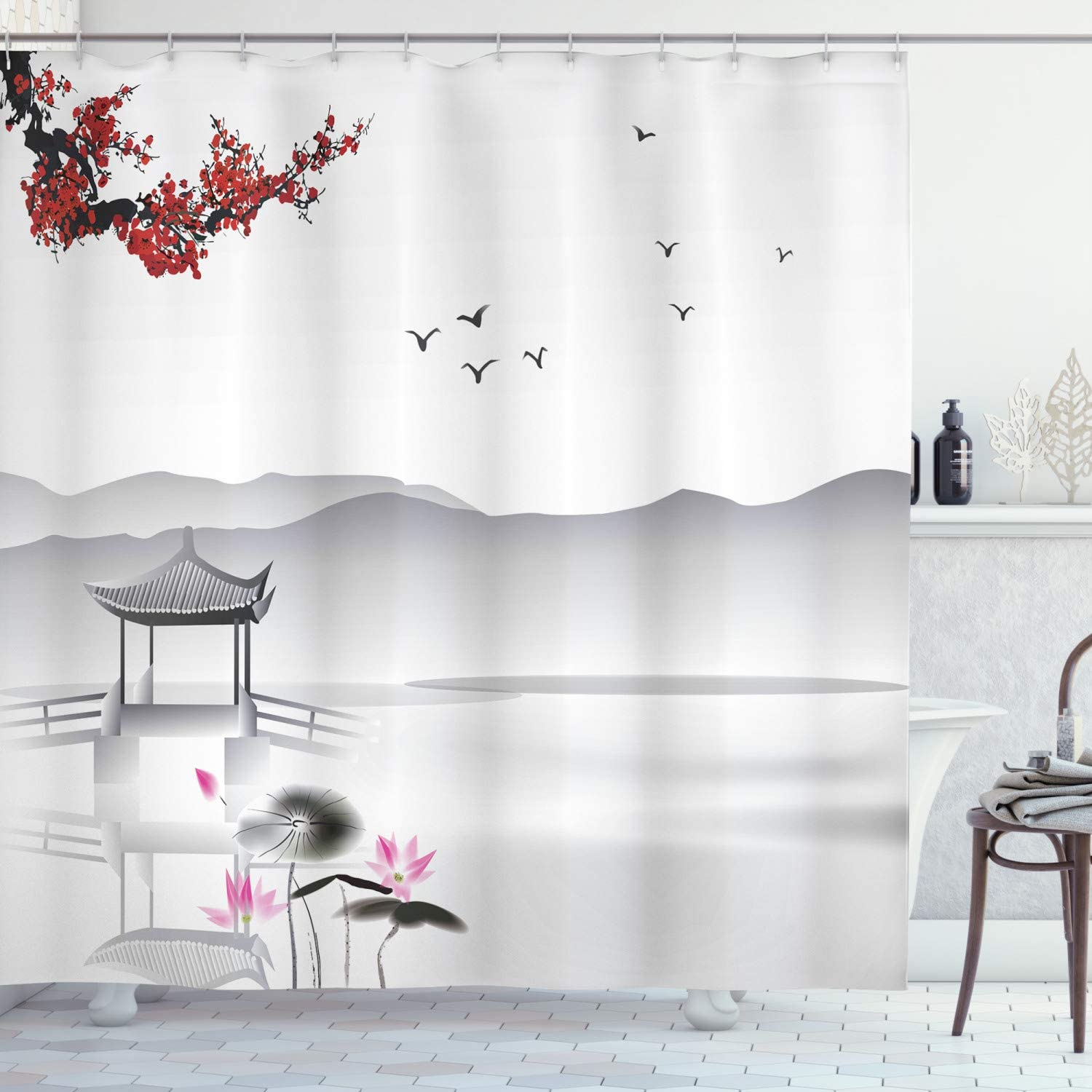"Ambesonne Asian Shower Curtain, Japanese Style Garden Bird and Small Pavilion Over The Lake Lotus Waterlily, Cloth Fabric Bathroom Decor Set with Hooks, 84"" Long Extra, Grey Pink"
