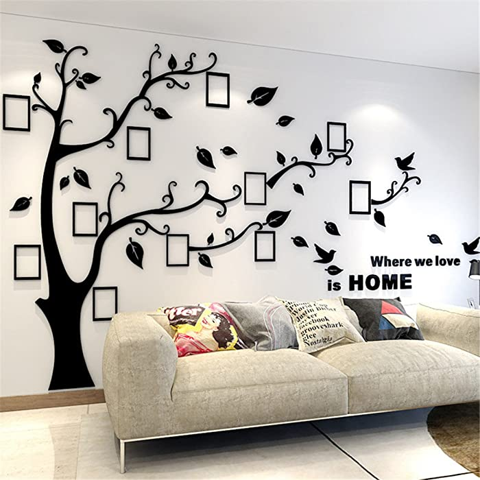 3D Tree Wall Stickers - DIY Photo Frame Tree Wall Decal Family Photo Frame Sticker Murals Wall Décor for Nursery Living Room Bedroom TV Background Home Decorations (XL:10979in, Black Right)