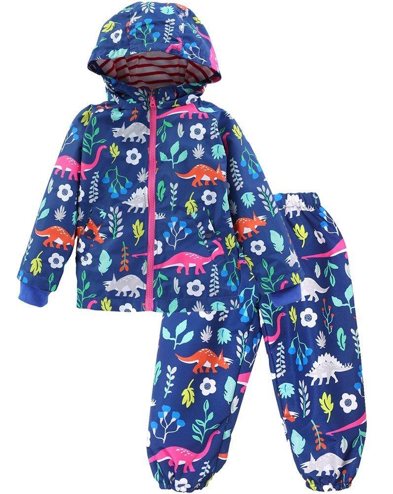 KISBINI Boys' Cartoon Dinosaurs Wind Jacket Raincoats and Rain Pant Set Navy 4T
