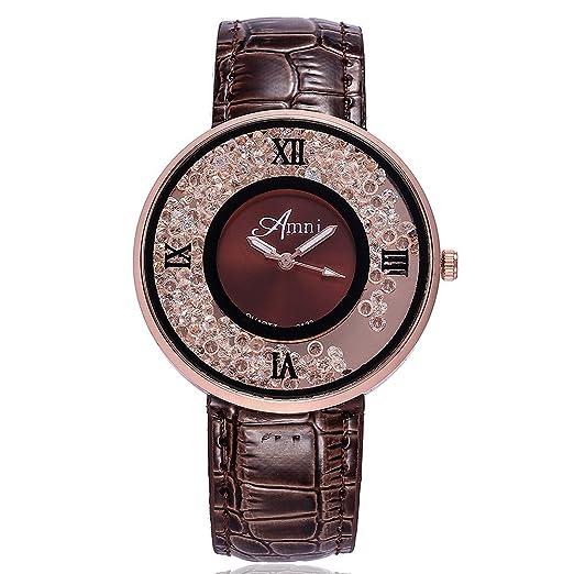 Kinlene Mujer Casual Relojes,Moda cuero banda de cuarzo analogico redondo reloj relojes (D): Amazon.es: Relojes