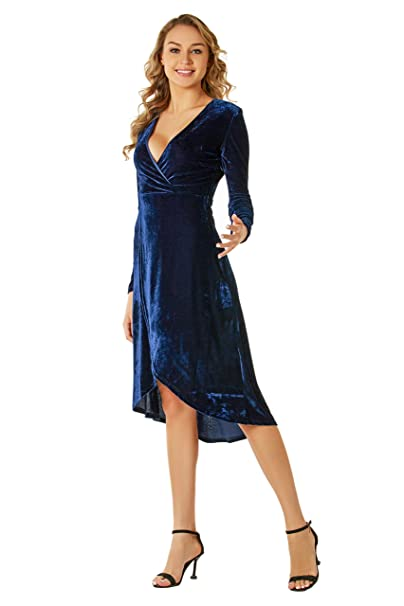 8ae942e8f21 Blue Velvet Dress for Women Junior Teen Lady Wrap Midi Evening Deep V Neck  (X