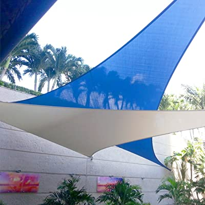 E&K Sunrise 12'x12x'12' Sun Shade Sail Blue Equilateral Triangle Canopy - Outdoor Shade Cloth 180 GSM UV Block Fabric, Curve Edge-Customized : Garden & Outdoor