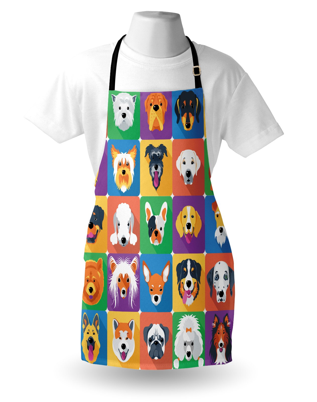 Ambesonne Dog Apron, Dog Breeds Profiles Pets Shepherd Terrier Labrador Domestic Animals Illustration, Unisex Kitchen Bib Apron with Adjustable Neck for Cooking Baking Gardening, Purple Green by Ambesonne (Image #3)