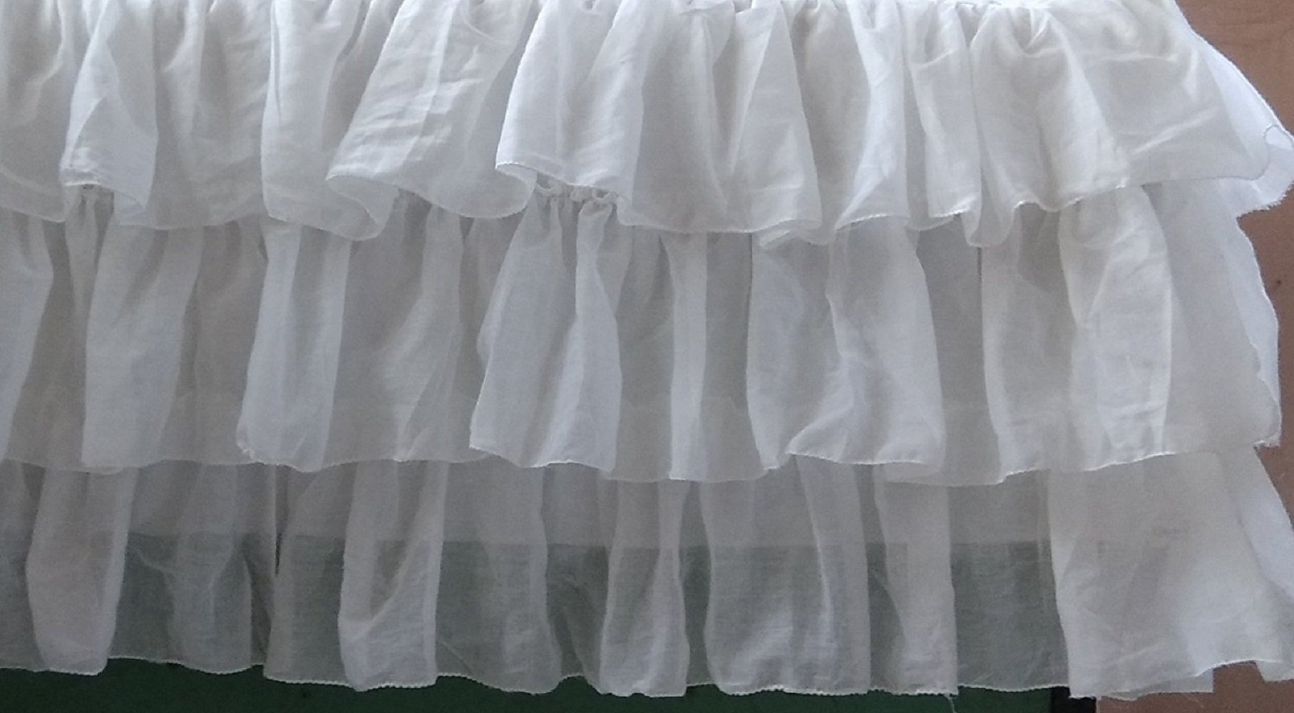 White Voile Tiered Mini Crib Skirt 16 Inch Drop 3 sided