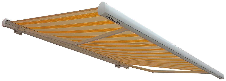 Prime Tech Elektrische Kassettenmarkise / Gelenkarm-Markise 400 x 300 cm / Gehäuse weiß / Tuch gelb-modern / #3005