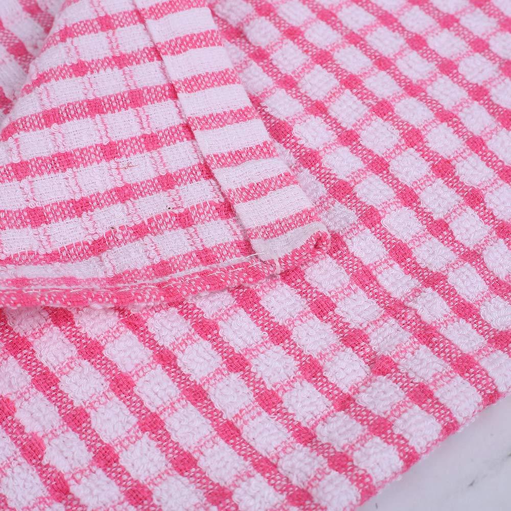 torchons serviettes en coton Lot de 6 Serviettes de Cuisine en Coton Torchons /à Vaisselle,Restauration Torchons Paquet de Cuisine Restaurant Bar verre Rose Lattice