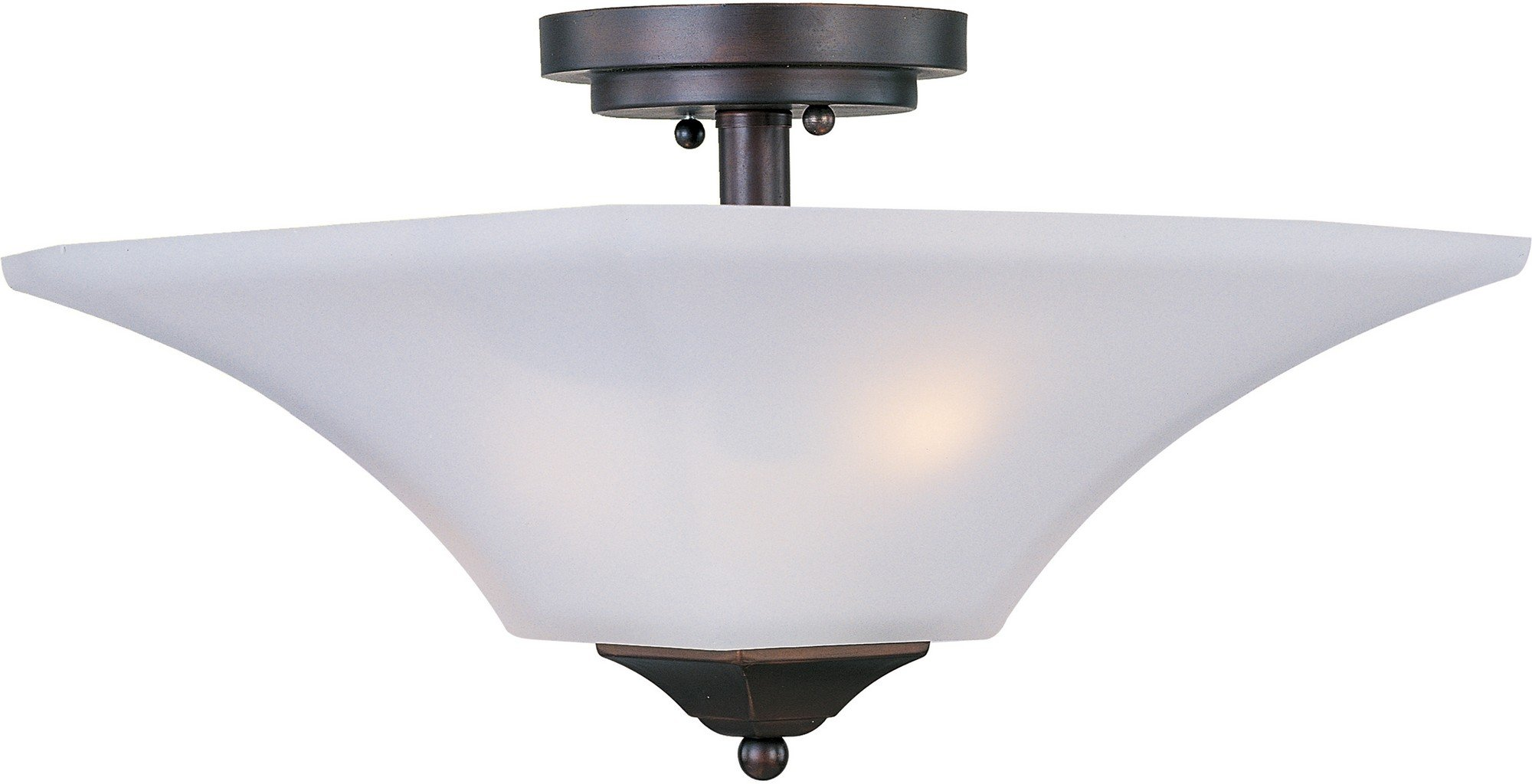 Maxim 20091FTOI Aurora 2-Light Semi-Flush Mount, Oil Rubbed Bronze Finish, Frosted Glass, MB Incandescent Incandescent Bulb , 40W Max., Dry Safety Rating, Standard Dimmable, Glass Shade Material, Rated Lumens