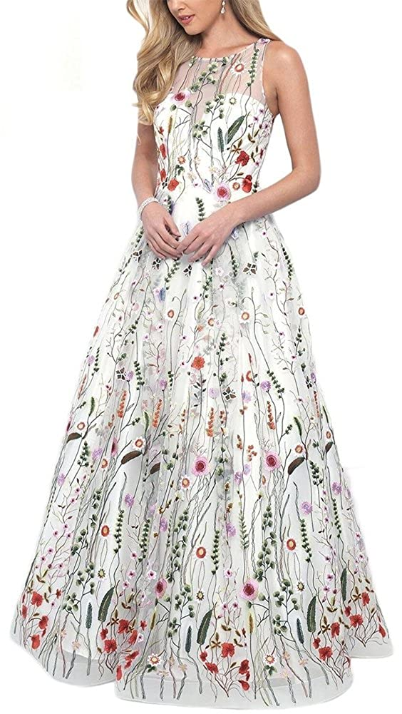 F Style  White Honeydress Women's FloralEmbroidered Long Sleeve Maxi Dress Prom Gown